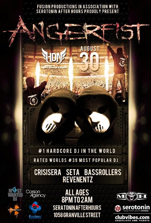 Angerfist 8-30-12 at Serotonin After Hours in Vancouver Tickets