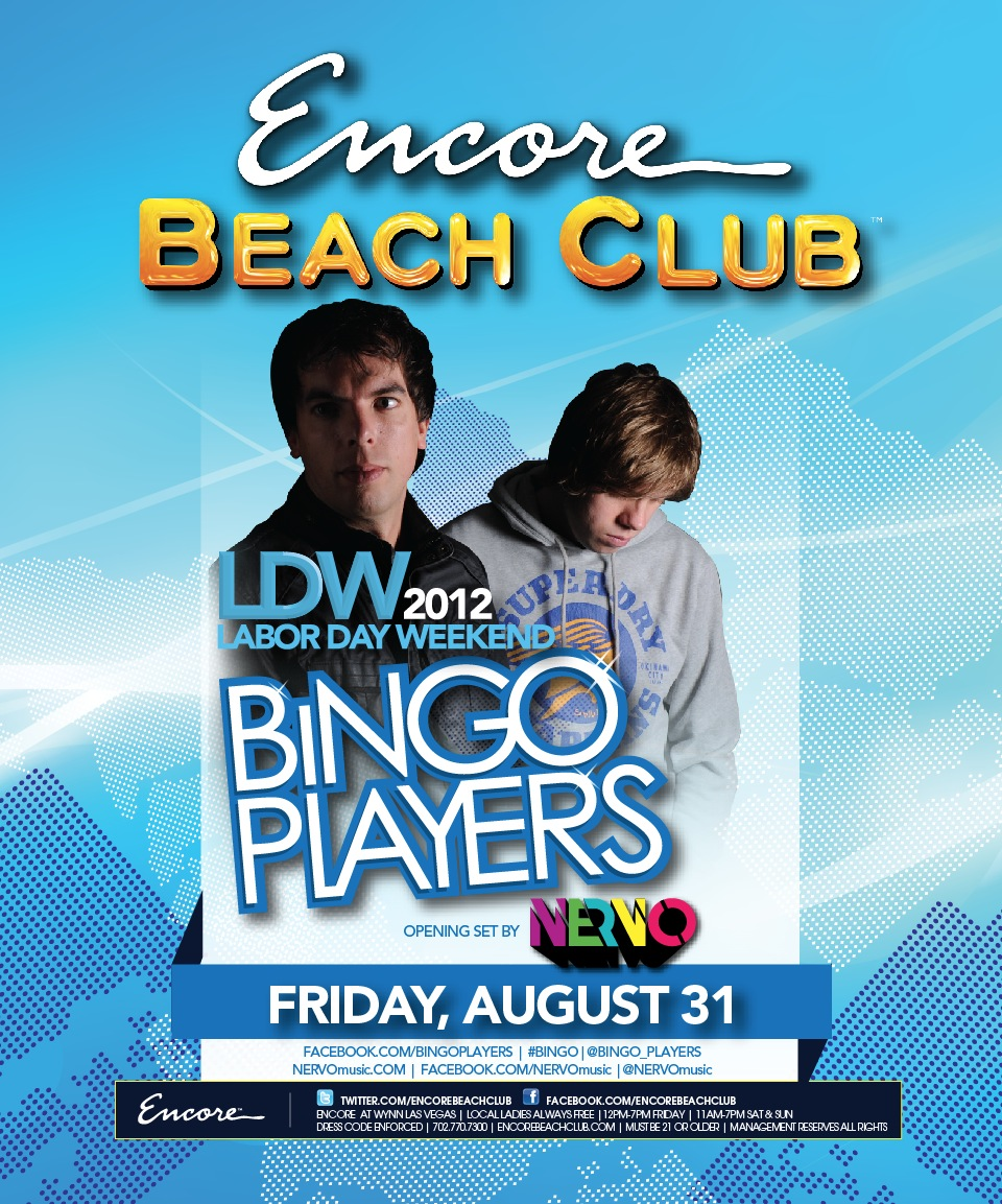 Bingo Players 8-31-12 Encore Beach Tickets