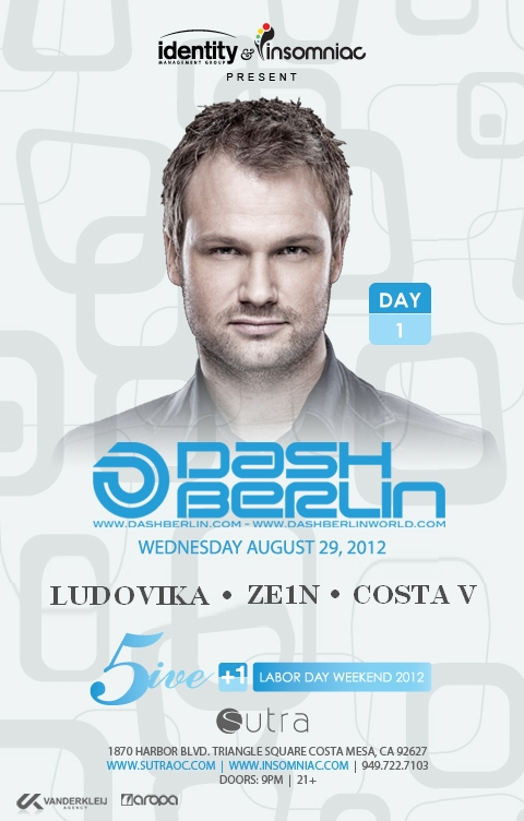 Dash Berlin 8-29-12 at Sutra for Labor Day Weekend Tickets