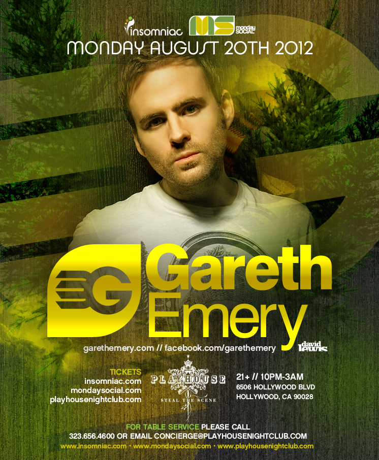 Gareth Emery 8-20-12 at Playhouse Hollywood Tickets