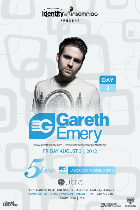 Gareth Emery 8-31-12 at Sutra for Labor Day Weekend Tickets