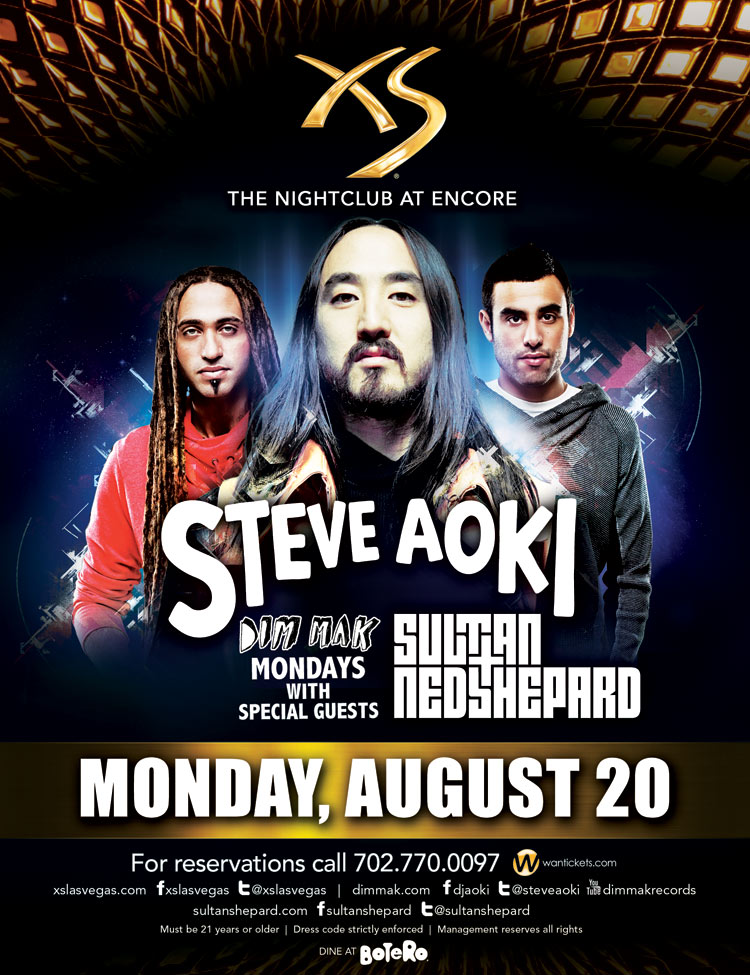 Steve Aoki 8-20-12 at XS with Sultan & Ned Shepard Tickets