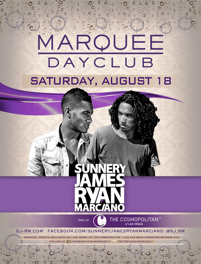 Sunnery James & Ryan Marciano 8-18-12 At Marquee Dayclub Las Vegas Tickets