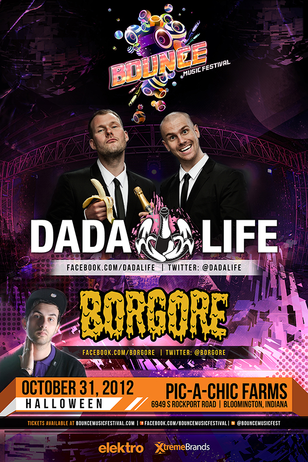 Dada Life & Borgore at Bounce Music Festival 10-31-12 Bloomington, Indiana Tickets