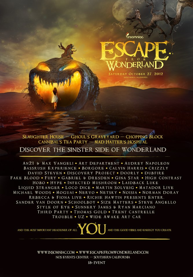 Escape From Wonderland 2012 Lineup & Tickets