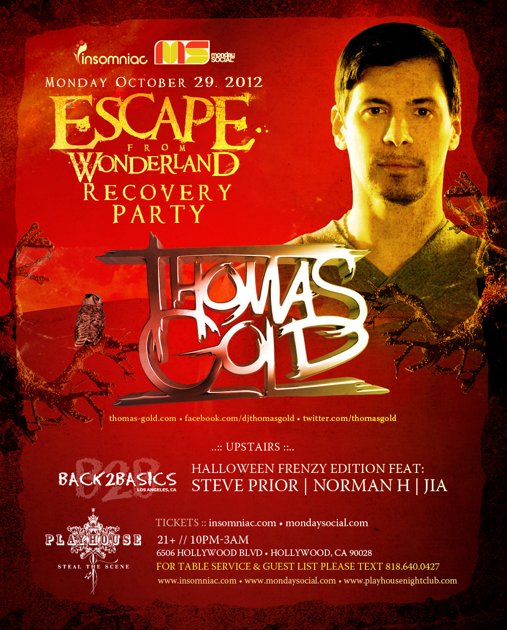 Thomas Gold at Playhouse 10-29-12 - Escape From Wonderland Recovery Party Tickets