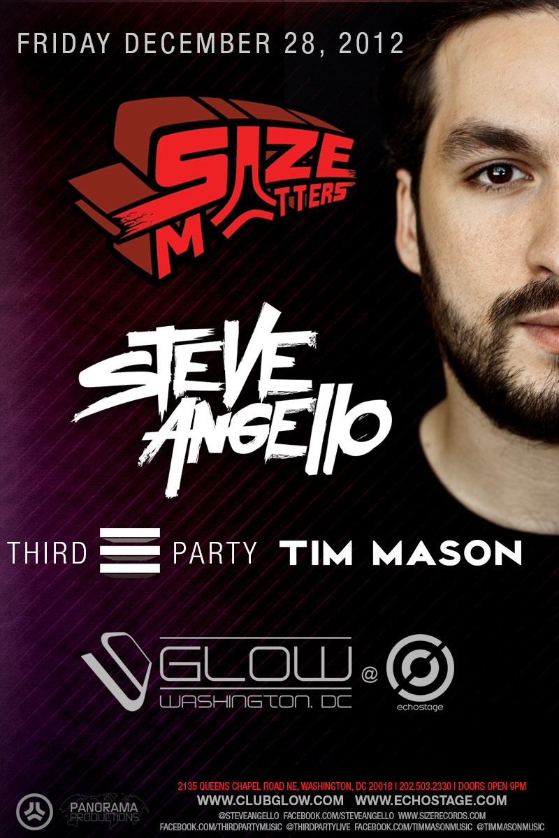 Size Matters Featuring Steve Angello at Echostage DC 12-28-12 w/Third Party & Tim Mason Tickets