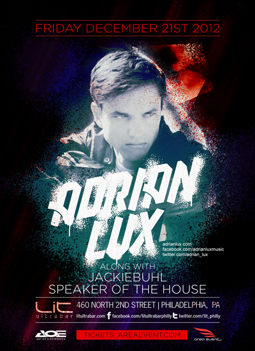 Adrian Lux at LIT Ultrabar 12-21-12 Tickets