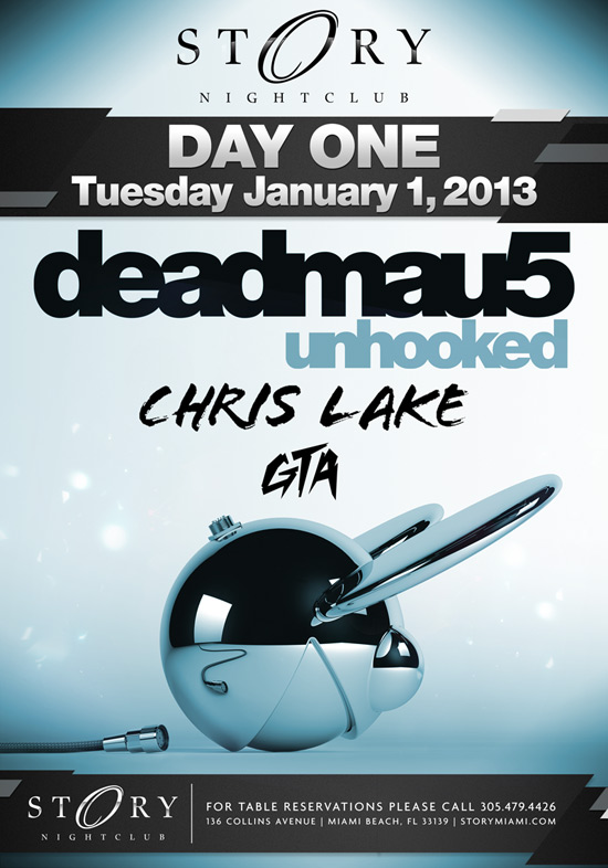 Deadmau5 New Years Day at Story Miami 1-1-2013 Tickets
