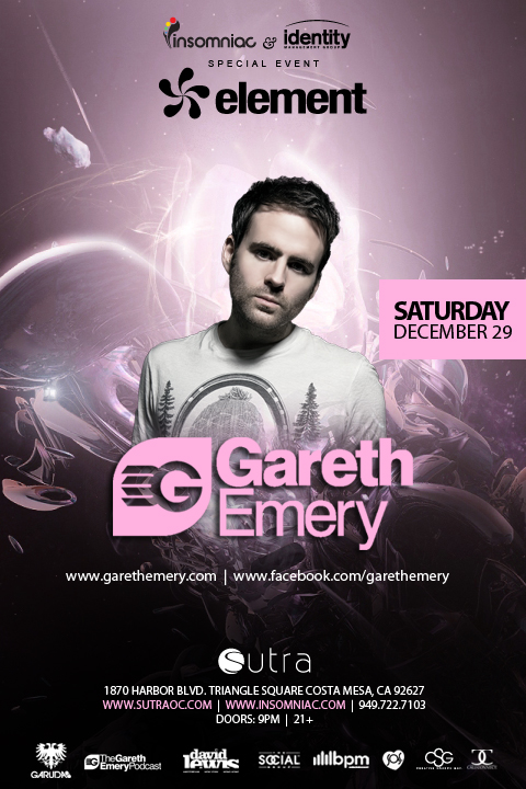 Gareth Emery at Sutra OC 12-29-12 NYE Weekend Tickets