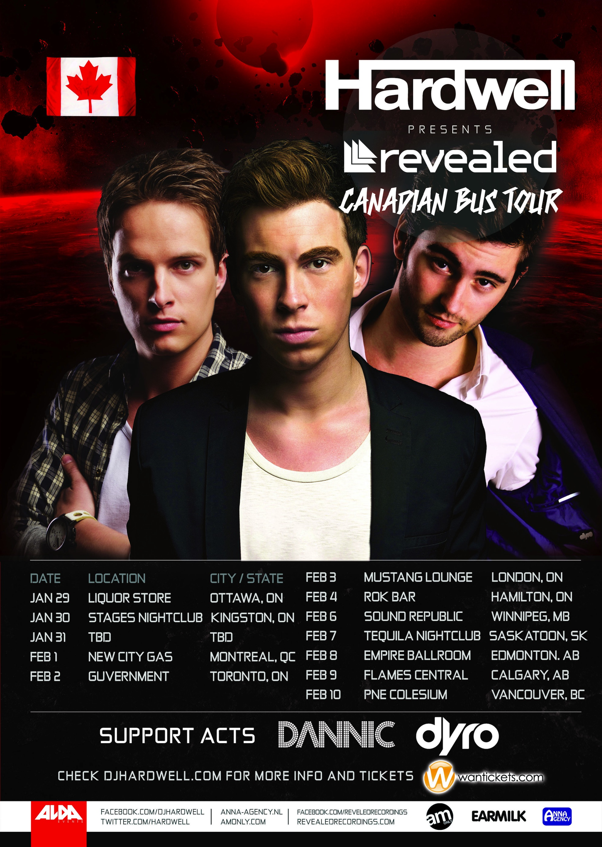 Hardwell Revealed Canadian Bus Tour Tickets