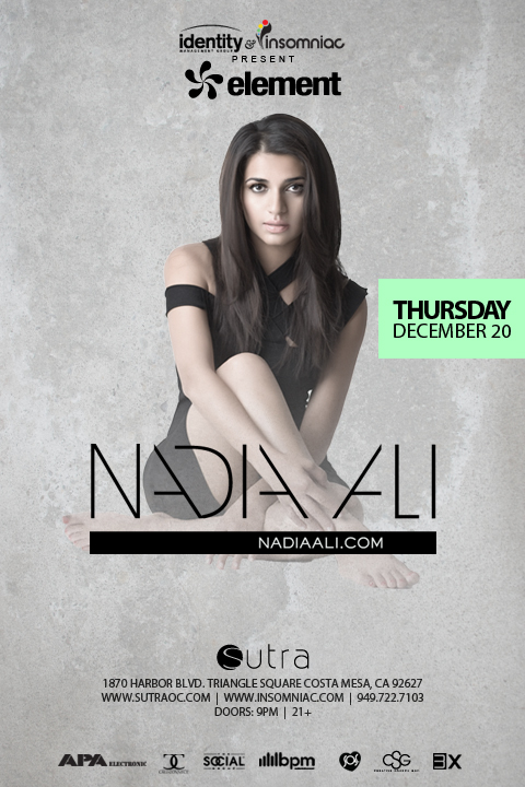 Nadia Ali at Sutra OC 12-20-12 Tickets