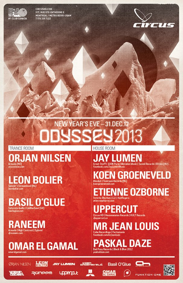 Odyssey NYE 2013 at Circus Afterhours Montreal 12-31-12 Tickets
