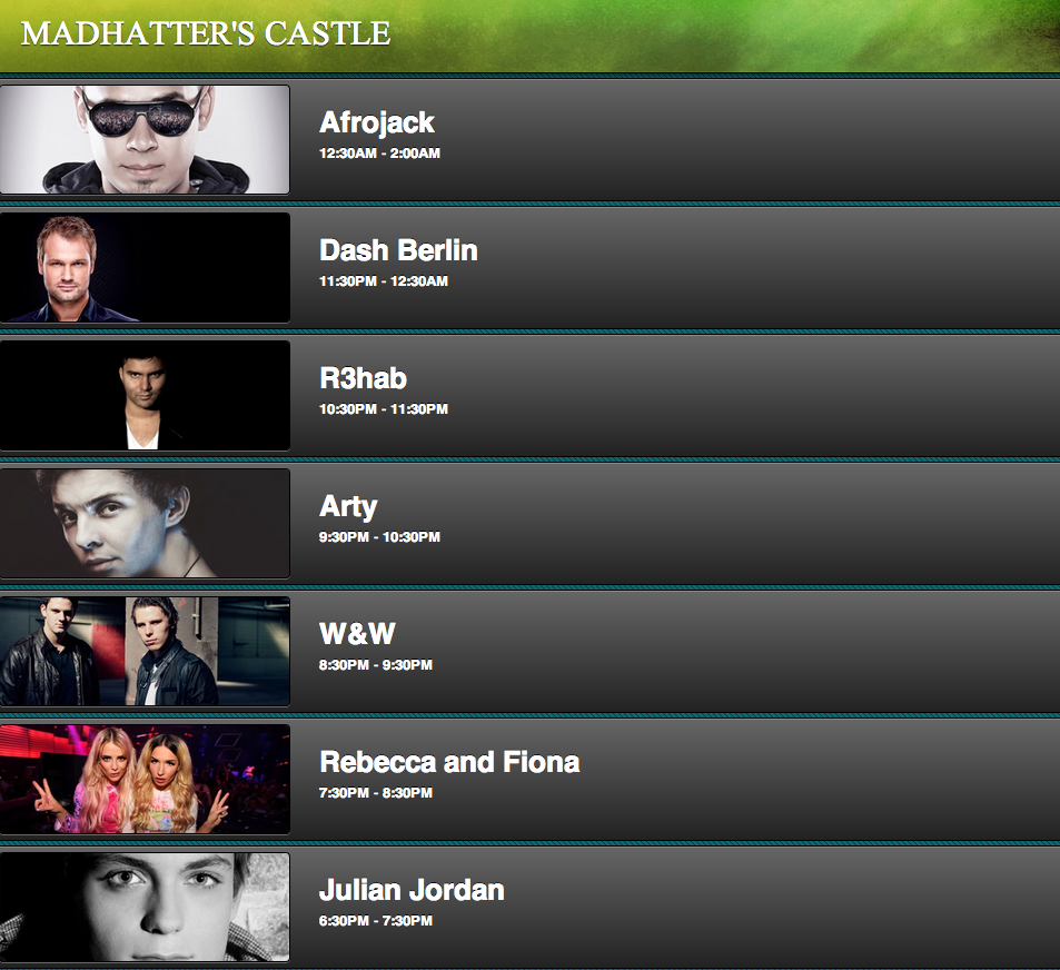 Beyond Wonderland 2013 Madhatters Castle Time Slot Tickets