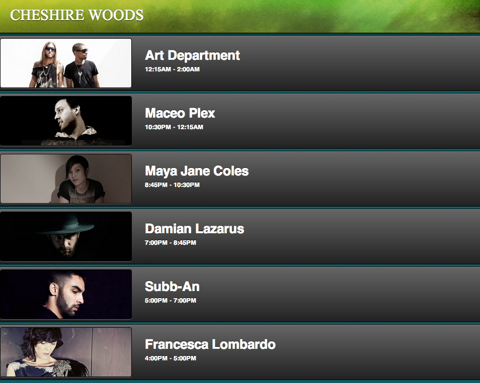 Beyond Wonderland 2013 Time Slots Cheshire Woods Tickets