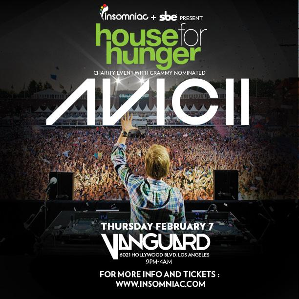 Avicii at Vanguard 2-7-13 House of Hunger Tour Tickets