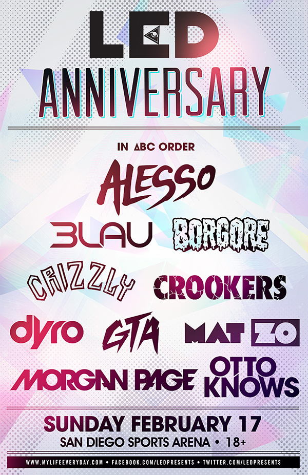 LED Anniversary 2013 at San Diego Sports Arena 2-17-13 Full Lineup & Tickets