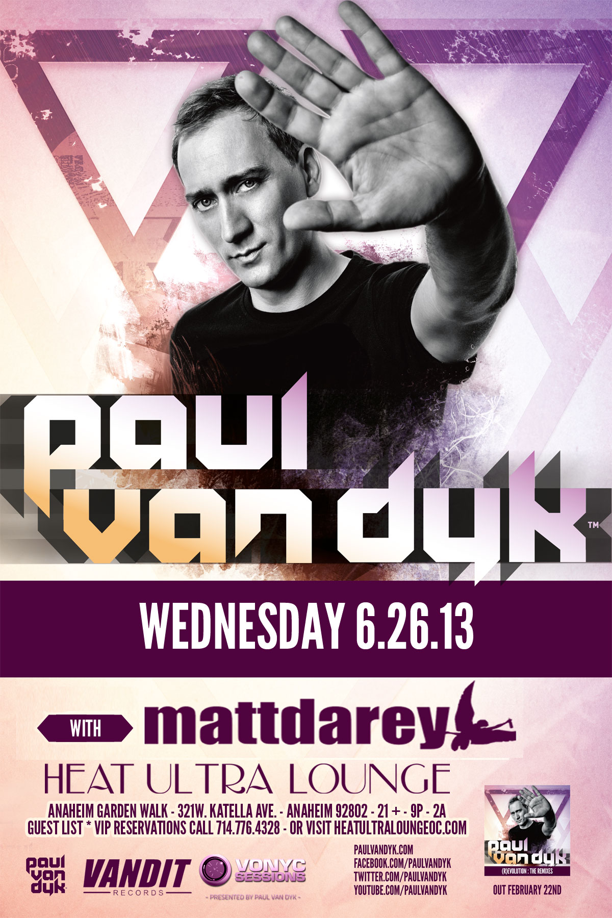 Paul van Dyk at Heat Ultra Lounge June 26th, 2013 Tickets